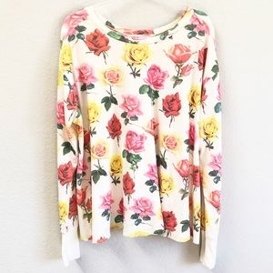 Wildfox Bright Roses Effortless Thermal Top Small